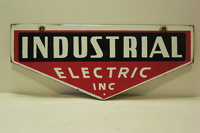 Industial Electric Inc Porcelain  Sign 2 Sided Hanging