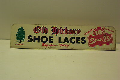 Old Hickory Shoe Laces Metal Flange Sign From Store Display