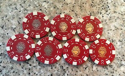 Lot of 7 Red FULL THROTTLE Energy Drink Coca Cola Clay Casino Poker Chips