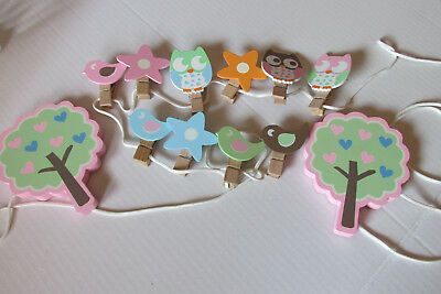 "Target Wood Owl Clip Wall Hanging ~ Clothesline Clothespin 102"" Long-10 Clips"
