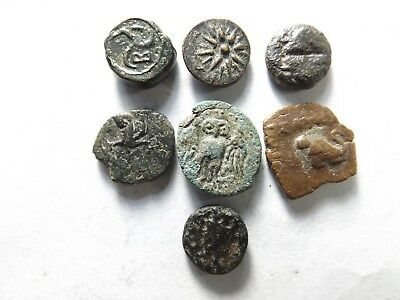Lot of 9 Higher Quality Ancient Greek Coins: Triskeles, Griffin...; 8.5 Grams!