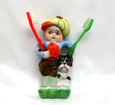 Vintage 1930's Japan Porcelain Figural Child's Toothbrush Holder ~ Boy w/ Dog