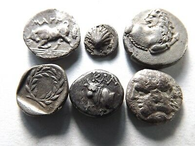 Lot of 6 Higher Quality Ancient Greek Silver Coins: Bulls, Shell; 7.8 Grams!