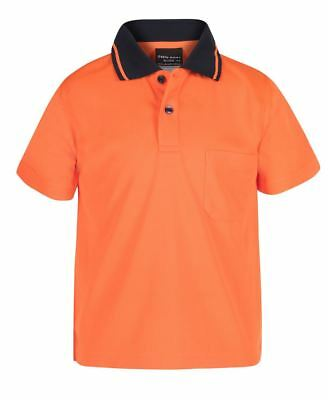 Jb's wear Kids hi-vis Safety Polo chest pocket Quick Drying UPF50+ Straight Hem