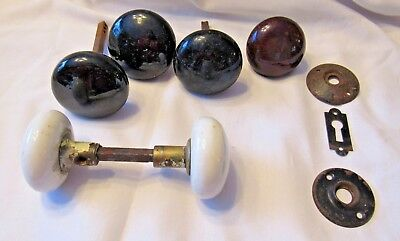 6 Vintage Porcelain Door Knobs  White Black Brown