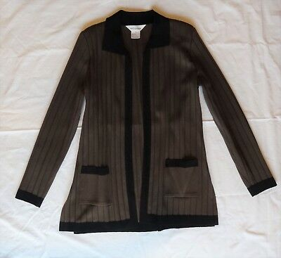 Exclusively Misook 8 Long Knit Cardigan Sweater Open Front Brown Black Medium