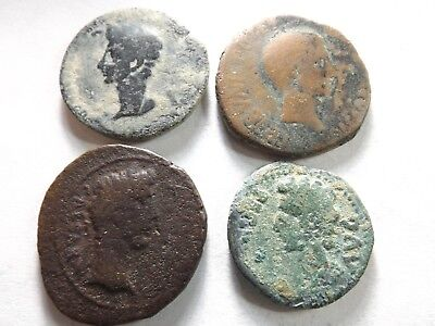 Lot of 4 Lower Quality Larger Ancient Roman Coins; Augustus; 35.1 Grams!