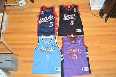 Lot of 4 Youth Vintage Champion Jerseys Hardaway Carter Hill Iverson