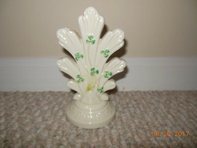 VINTAGE Ireland Irish Belleek Shamrock Honeysuckle 3 Hole Vase Green Mark EXCLT