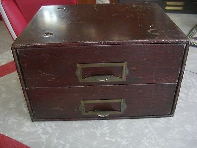 Vintage Metal Steel 2 Drawer Small Parts Cabinet Chest Tool Box Storage-STACKABL