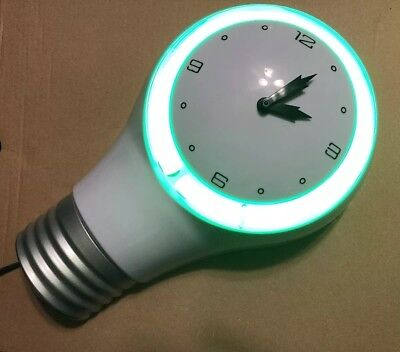 Light-up Light Bulb Shaped Clock with Neon Green Light