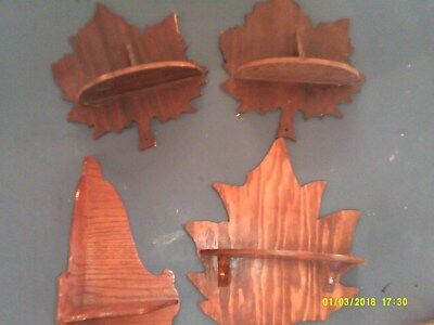Lot Of 3 Old Leaf Shaped Wall Shelves Plus Small Corner Shelf Homemade
