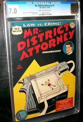 Mr. District Attorney #3  Cgc 7.0! Cream To Off-White Pages! Classic Cover!