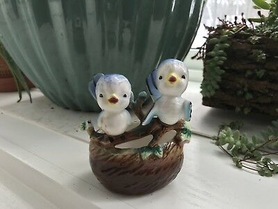 Vintage Ceramic Blue Birds Planter Nature Leaves Retro