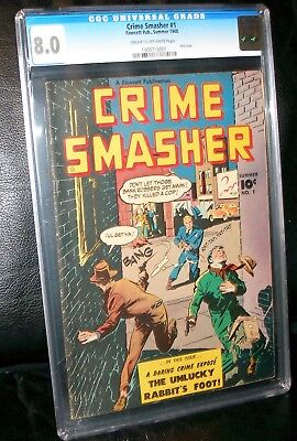 Crime Smasher #1 One Shot 1948! Cgc 8.0 Cream To Off-White Pages!