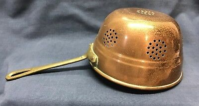 """Vintage Solid HEAVY Copper Collander Strainer Pan Brass Handle Small 6"""" Drainer"""