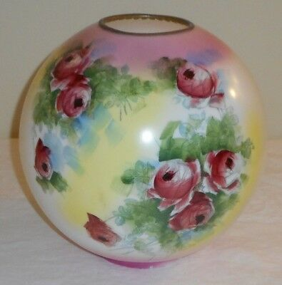 "Ca. 1890s Pink Yellow Red Roses Banquet GWTW Oil Lamp 4"" Fitter Ball Shade Globe"