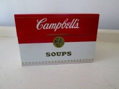Vintage 70s Collectible Old Campbell's Condensed Soups Heavy Tin Recipe Box
