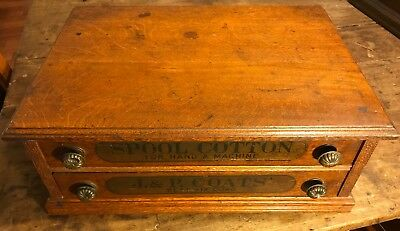 """Antique J & P Coats Two-Drawer Thread Cabinet """"Best Six Cord"""" & """"Spool Cotton"""""""