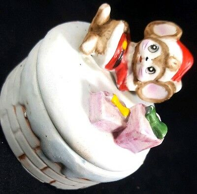 Homco Christmas Santa Mouse Vintage Ceramic Porcelain Trinket Jewelry Box