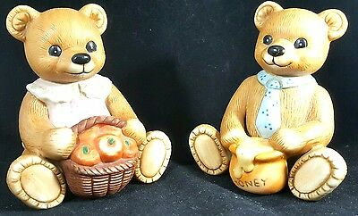 Vintage Homco Teddy Bear Set Porcelain Bisque Boy Honey Girl Apple Figurine Pair