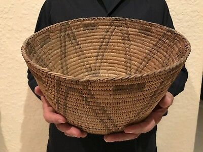 Large Old Native Indian Pima Basket Bowl Devils Claw Beautiful Designs