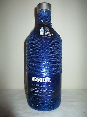 Absolut Vodka BLUE SEQUIN Limited Edition 1 L bottle Sleeve!  Flips to silver!