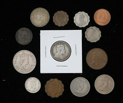 1907 Cyprus 9 Piastres, Lot of 13x Coins, 1930s-1950s, Some Nice Grades Rare!