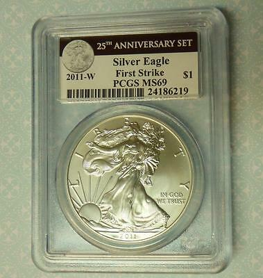 2011 W PCGS MS69 Silver Eagle 1st Strike Coin from 25th Anniv Set, Black Label