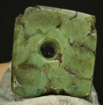 20) Ancient Pre Columbian Moche Indian Jadeite Turquoise Square Bead Disc 8mm