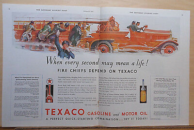 1932 double page magazine ad for Texaco - Speeding fire truck, seconds mean life