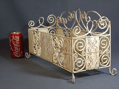 White Shabby Metal Chic Wrought Iron Scroll Planter Box Plant Holder Vintage