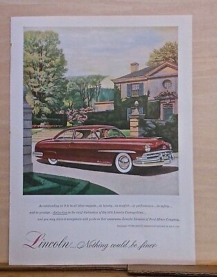 1950 magazine ad for Lincoln - Cosmopolitan at country manor, Nothing Finer