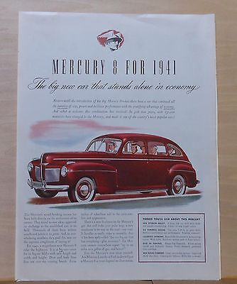 1940 magazine ad for Mercury Eight - Red 1941 model, Stands Alone in Economy