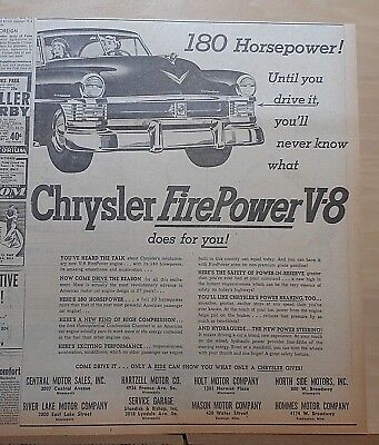 1951 newspaper ad for Chrysler - Fire Power V-8, 180 H.P., New Yorker grille