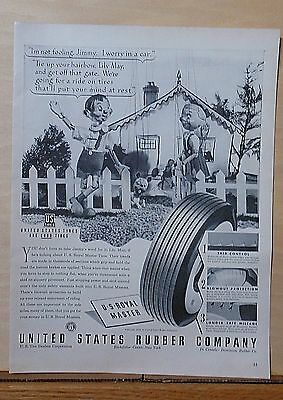 1940 magazine ad for U.S. Rubber - Marionette couple recommend US Royal Master