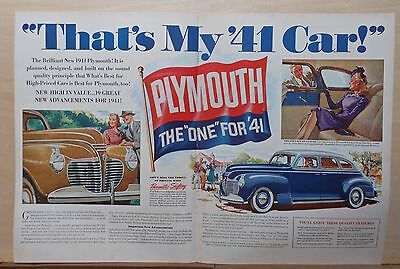 "1940 double page magazine ad for Plymouth - Colorful 1941 model, The One for ""41"