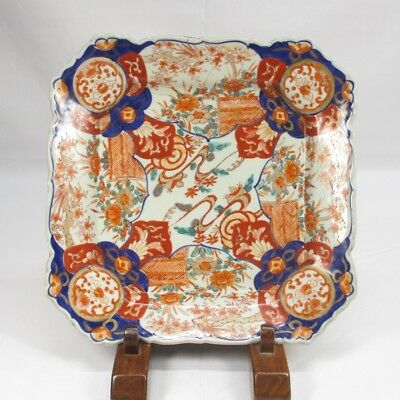 E885 Japanese OLD IMARI beautiful colored porcelain BIG plate with good painting