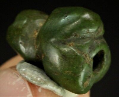 56) Ancient Pre Columbian Moche Indian Greenstone Jadeite Turquoise Bead 15mm