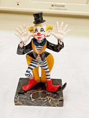 "Vintage Depose Clown Italy On Carrara Marble Base #943 ""The Laugher"""