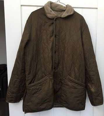 Mens Vintage Barbour Green Long Quilted Jacket Coat Waterproof Old Trench Medium