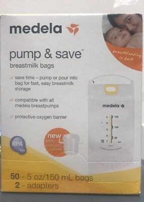 Medela Pump & Save Breast-milk 5oz. Storage Bags  50 Ct. Adapters Included