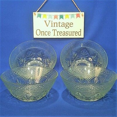 "Vintage KIG (Indonesia) FIRNA - 4 x Clear Embossed GLASS DISHES / BOWLS (7"") VGC"