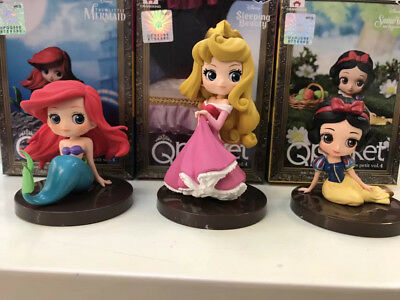 3Pcs/Set Q Posket Characters Petit Vol 4 Figure Princess Snow White Ariel Aurora