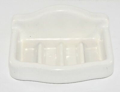 Vintage Antique Solid Porcelain Wall Mounted Soap Dish White