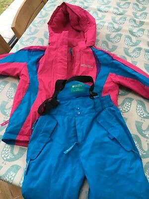 Mountain warehouse girls ski jacket and trousers 7-8 pink and blue. VGC.