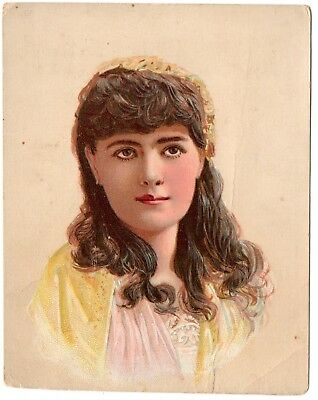 1890s GEORGE BREHM BREWER, BALTIMORE, MARYLAND PRETTY LADY BEER TRADE CARD
