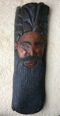 Large Hand-Carved Folk Art Solid Wood Bust African American 3' tall mid-century