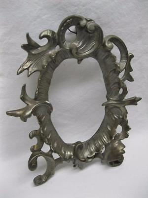Victorian Rococo Metal Picture Frame Photo Mirror Etc Vtg Old Fancy Ornate Oval