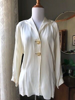 40s Blouse Rayon Cream Big Lucite Buttons 1940s Vintage Puffed Sleeves Fitted